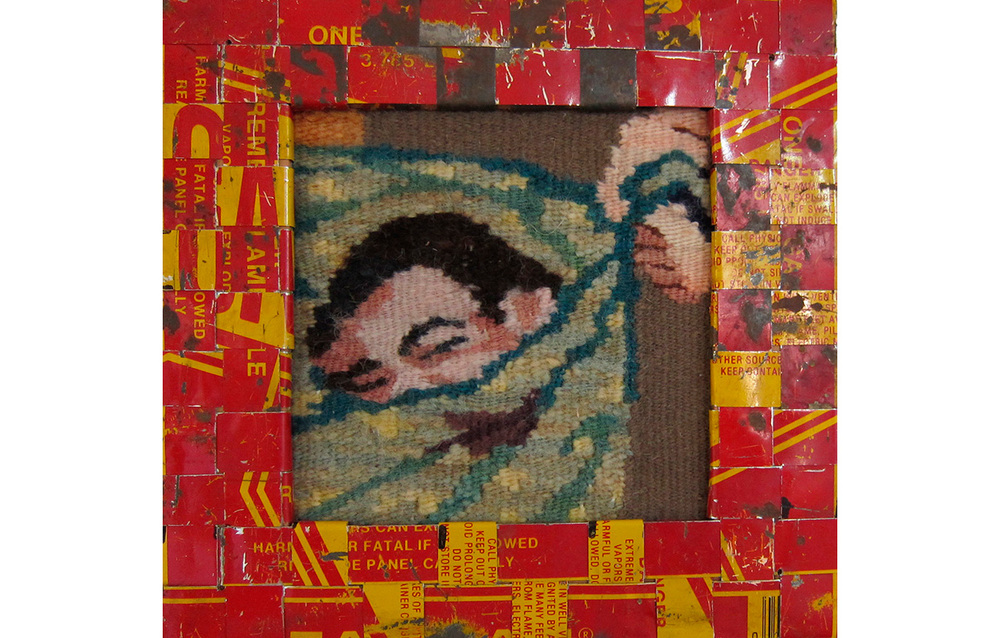 "Gasoline Can Series, 17,  Tapestry and cut up strips from gas cans woven into frames, 8.25"" x 8.5"""