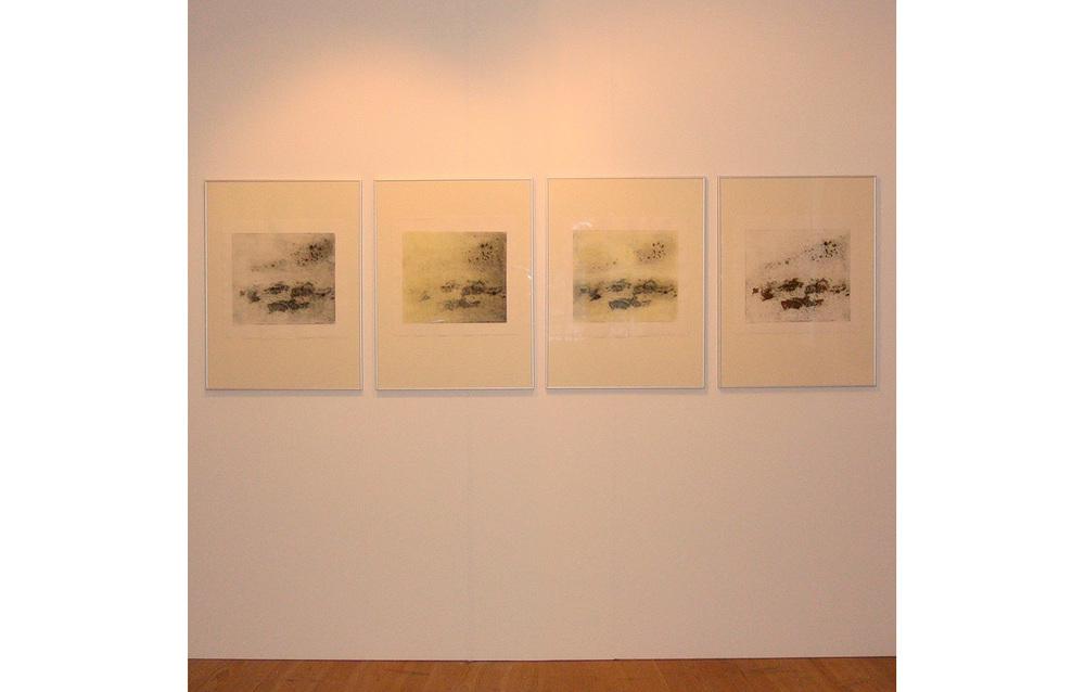 Inge Nørgaard, 2007 ,Art Centre Silkeborg Bad, Silkeborg, Denmark, Winter Meditation 1, 2, 4, 5, Collagraph