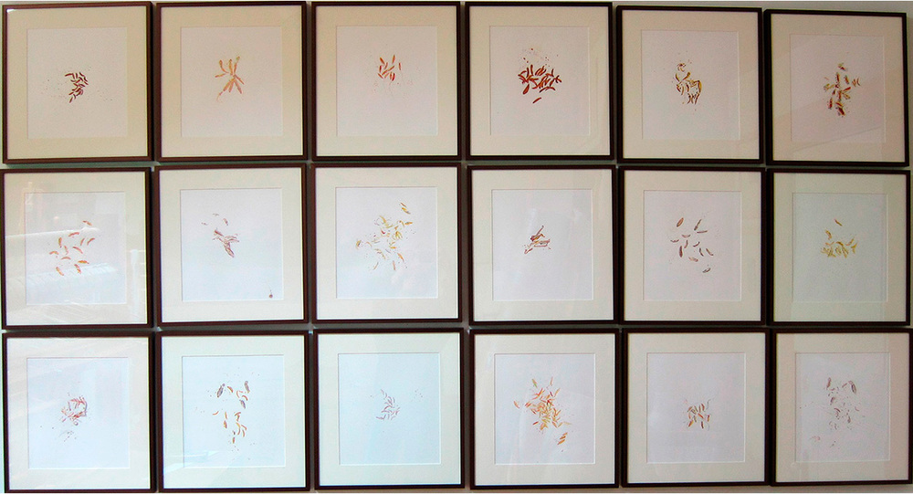 "Pollen , Acrylic on Paper, 15.25"" x 14.25"" each panel, 48.5"" x 87.5"" together"
