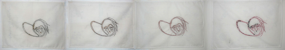 "Hush Little Baby , Embroidery on Cotton, 13.5"" x 19"" each panel, 13.5"" x 78"" all"