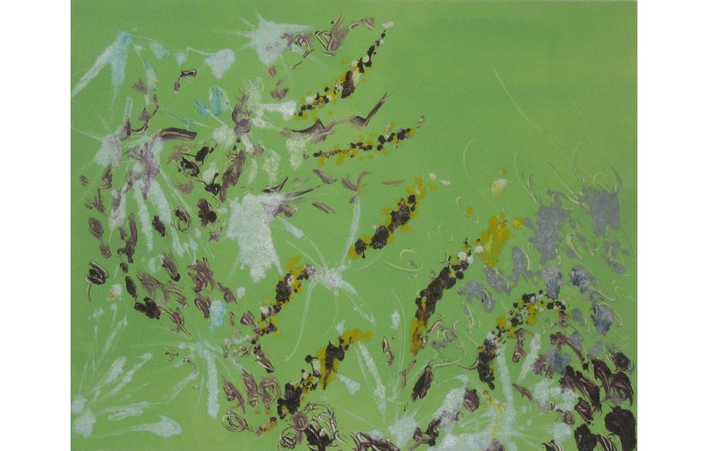 "Spring Flowers 3 , Monoprint, 8"" x 9.75"""