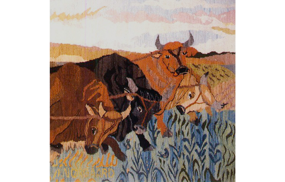 "Gefion and Her Four Bull-Oxen , detail, Tapestry wool on cotton, 48"" x 120"""