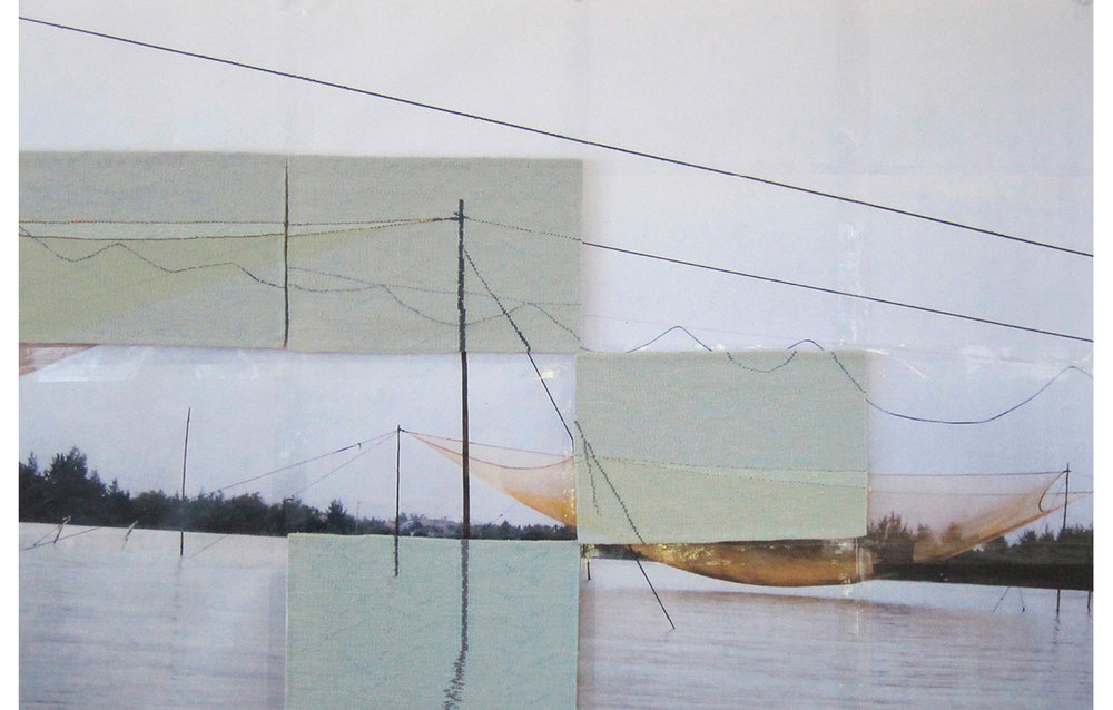 "Second Net  , Tapestry, wool on cotton on photocopy from original photo, 11"" x 16"" each panel, 40"" x 60"" entire image"