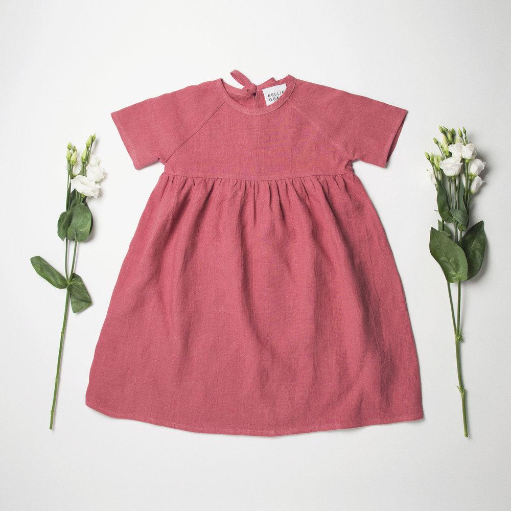 Hopscotch Dress Front - Rasberry Linen.jpg