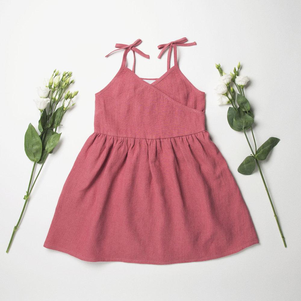 Wrap Dress Front - Rasberry Linen.jpg
