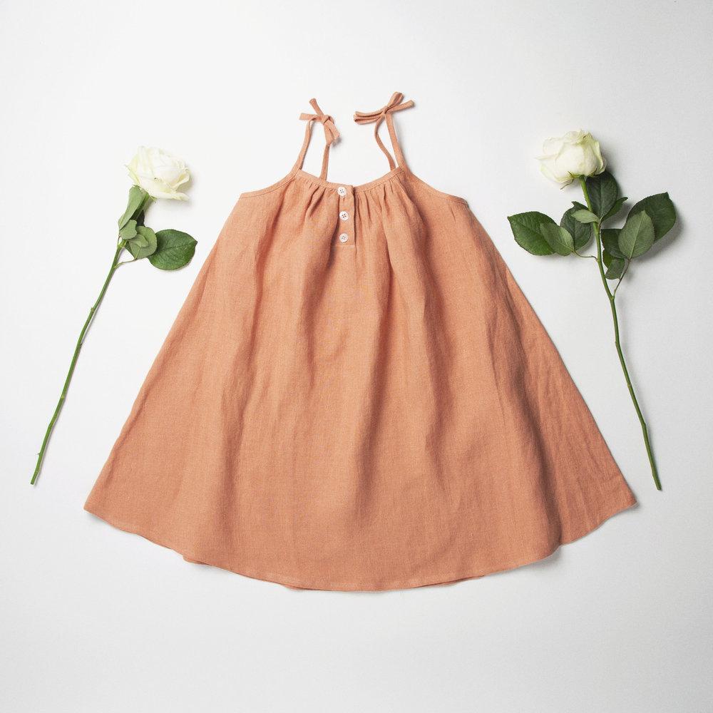 Summer Button Dress Front - Peach Linen.jpg