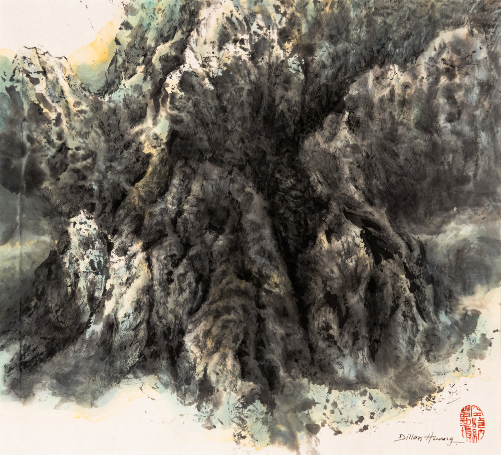 Spring Mountain | Rice on Ink Paper | 13.5x15