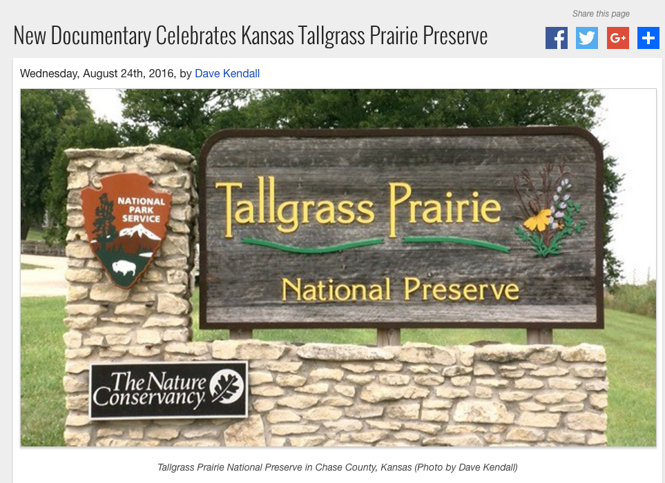 A short story connected to our tallgrass prairie documentary has been presented on Kansas Public Radio.