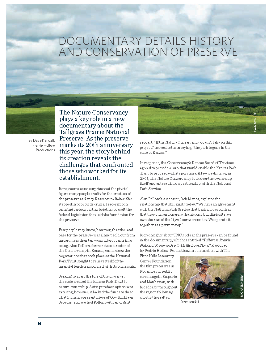 Article published in the year-end review of The Nature Conservancy in Kansas