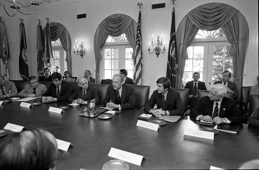 Dr. Salk sitting to President Ford's right.  Dr. Sabin sitting two people to his left.                                                                                                        Photo:  Gerald R. Ford Presidential Library.
