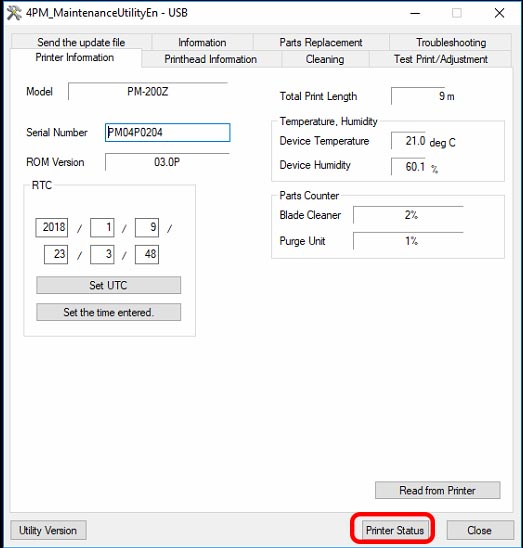 Figure 21: Printer Status button in the maintenance utility window