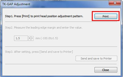 Figure 24: TK-Gap adjustment pattern print button location