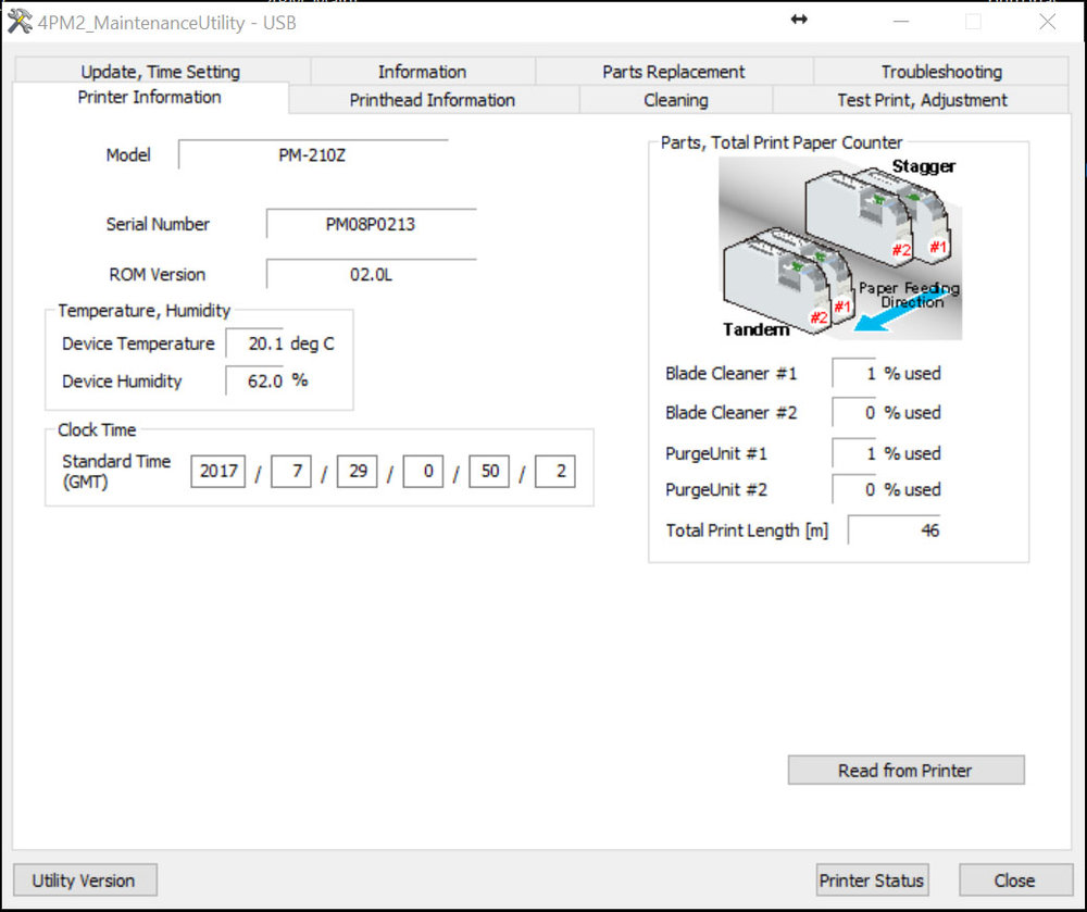 Figure 15: Printer Status button in the maintenance utility window