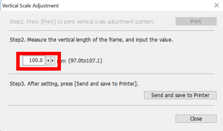 Figure 10: Vertical scale adjustment length of frame input