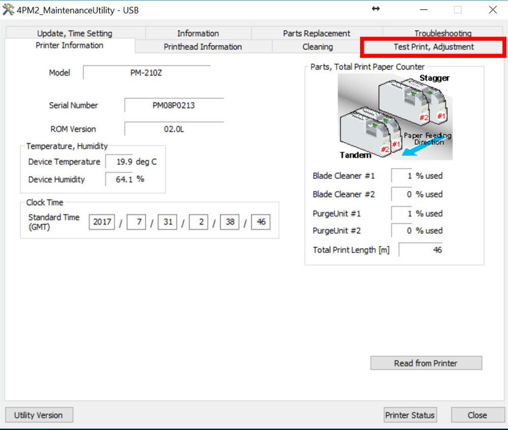 Figure 12: Test Print/ Adjustment tab location