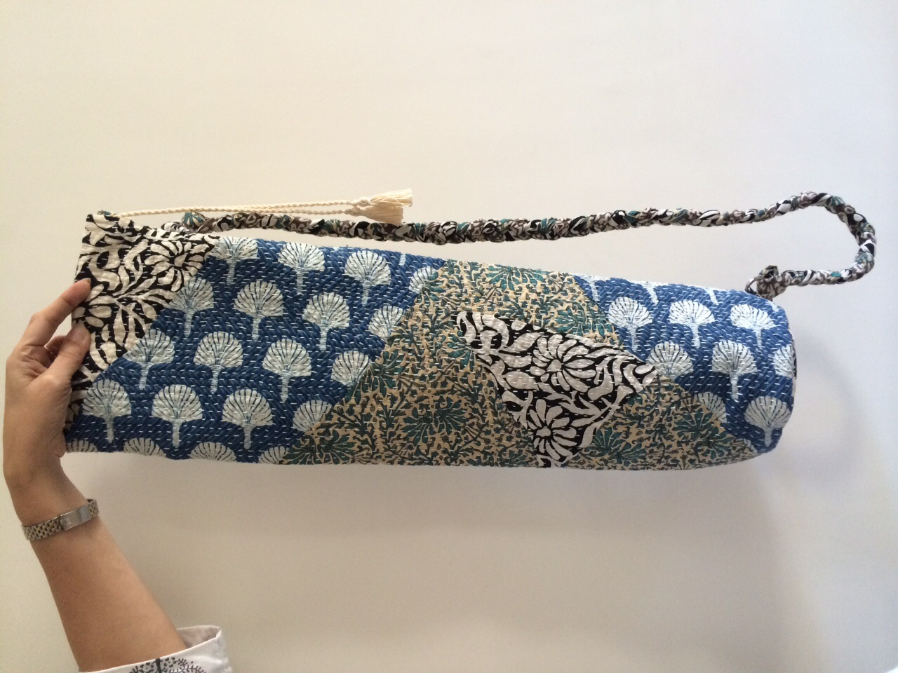 One of Arushi's patchwork yoga mat bags.