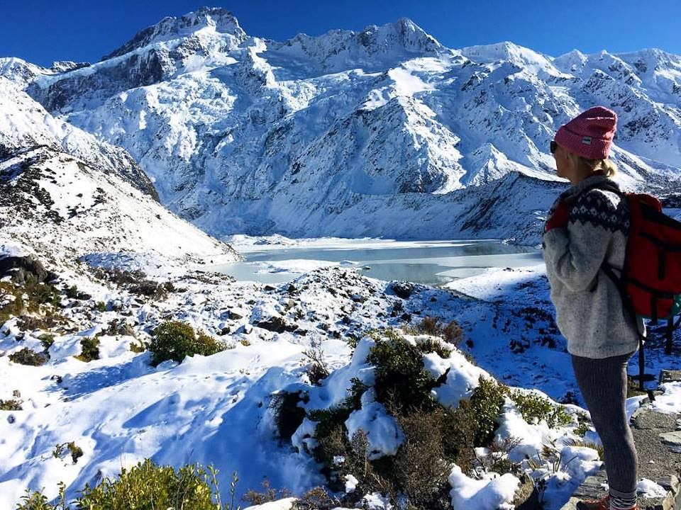 "A stroll through Hooker Valley to check out Aorki/Mt. Cook. ""Aoraki"" means ""cloud piercer"" in Maori. (PC: My favorite Austrian, Martina)"