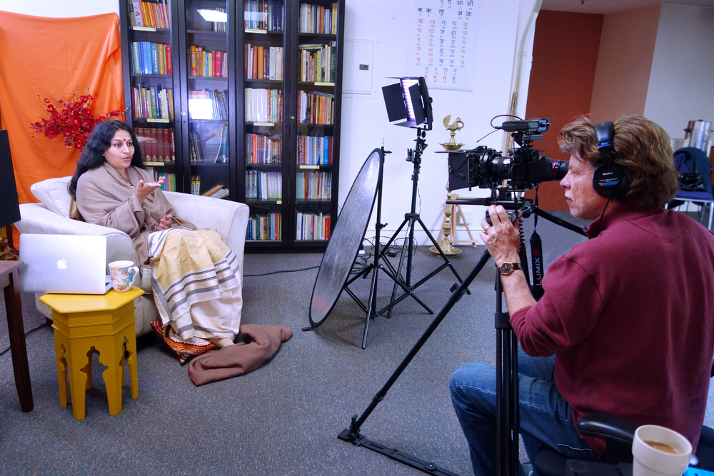 "Interviewing Acharya Shunya Mathur for the film, ""The Spirit of Vedika."" Photo by Ananta Ripa Ajmera"