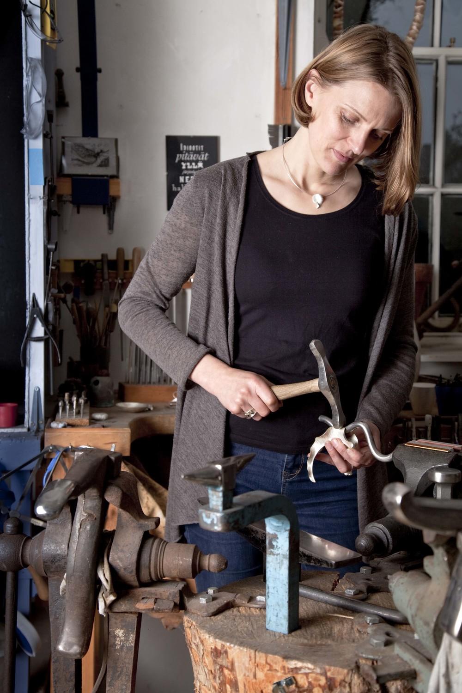 Silversmith, Rauni Higson at work in her studio on the edge of the Nantlle Ridge, Snowdonia