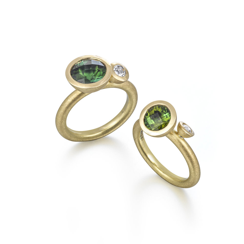 Louise O'Neill, rings in 18ct gold with tourmaline and diamond.jpg