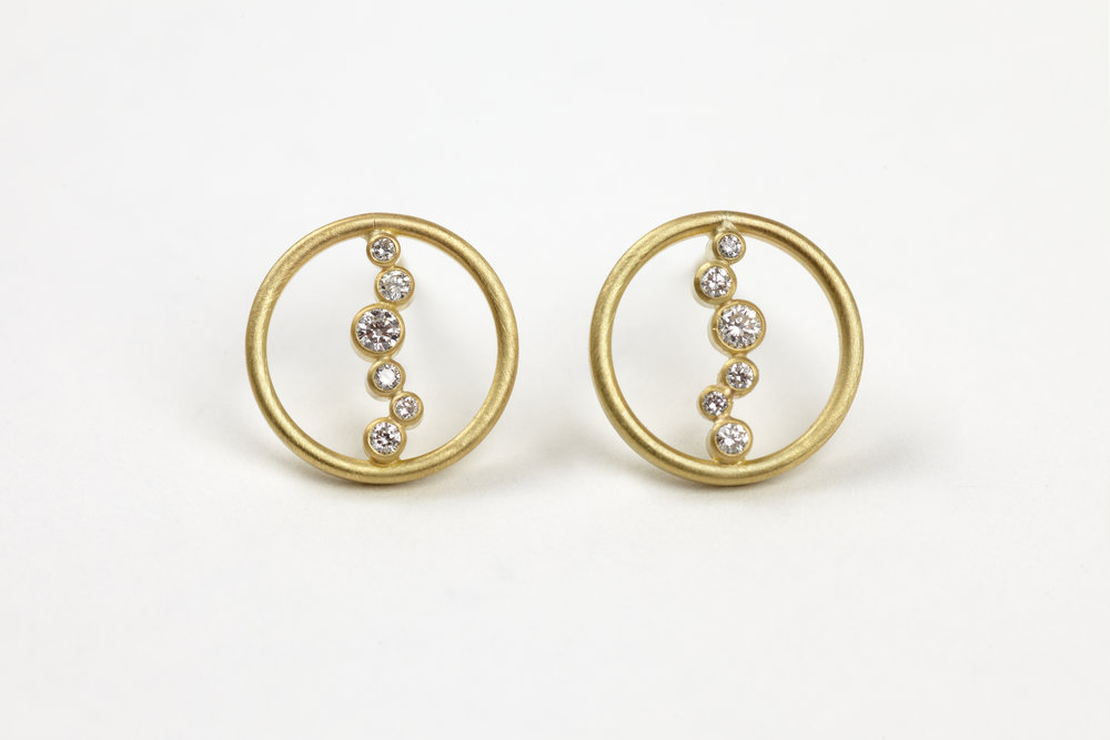 Louise O'Neill 18ct gold  'falling snow' ear studs with diamonds.jpg