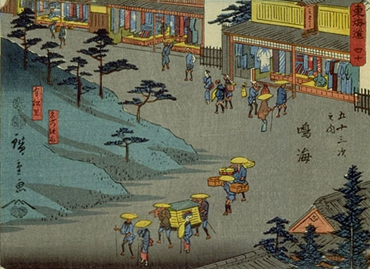 Nagoya 's suburb Arimatsu, home of die-resist textile printing. Evocative of the role of art and craftsmanship in Japanese society. By block print artist, Hiroshige