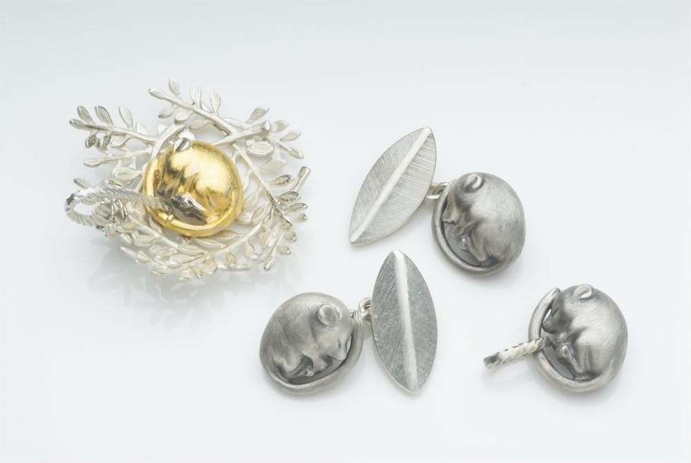Sleeping Dormouse (pendants, cufflinks) size: mouse 14x13x7mm. Dormouse in Nest 32x32x10mm silver, gold foil