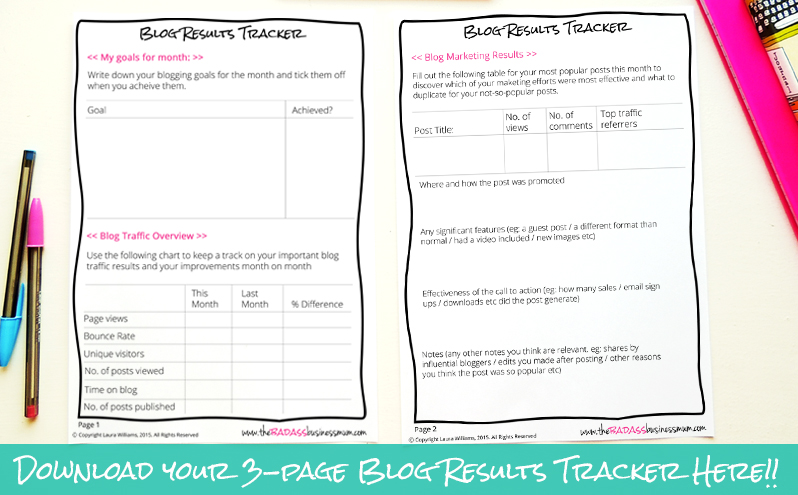 Track the growth of your blog to help you decide on your most effective marketing strategies. Keep track of your monthly goals, traffic, marketing results and social media growth by downloading and using your Free 3-page Blog Results Tracker from The Badass BusinessMum
