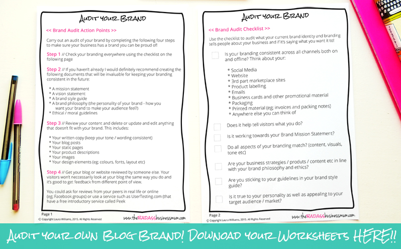 Download your Free 'Audit your Brand identity and document checklist to start your re-branding process with the basics in place before you start! Download it now from The Badass BusinessMum