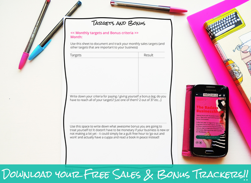 Track your sales and hours worked as well as bonus results and criteria with this Free download from The Badass BusinessMum. Make your business about sales and focus your mindset on making decisions that bring results!