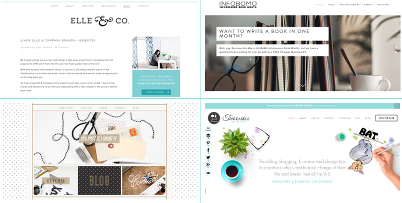Four beautiful examples of Squarespace websites. With a good range of themes with high levels of customisation and special features easily edited without coding knowledge - a beautiful website is within the grasp of the non techie online business owner