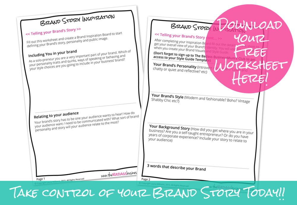 Business Mum Branding Part 1 How to discover your Brands Story – How to Create a Worksheet