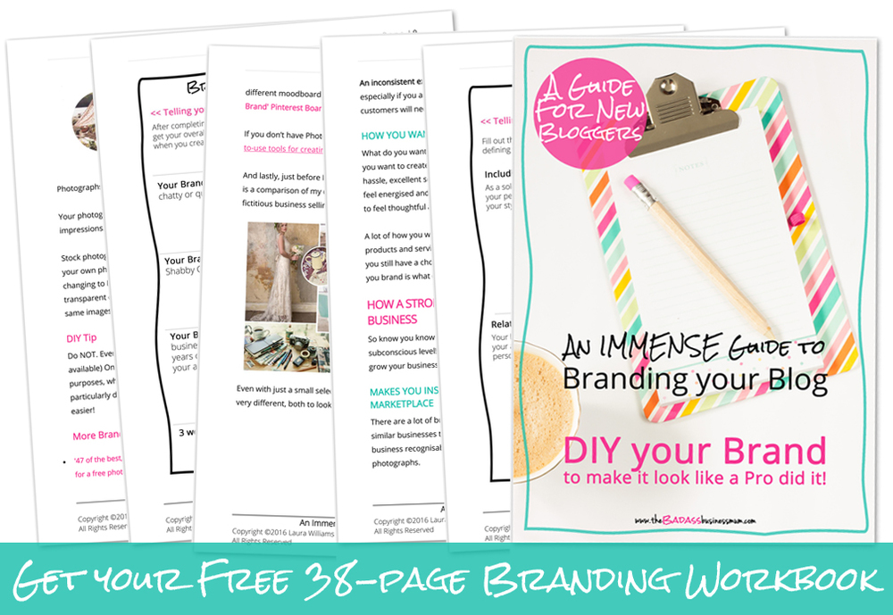 38 pages, 6000+ words, 8 worksheets and a full Branding Visuals example. All for you!