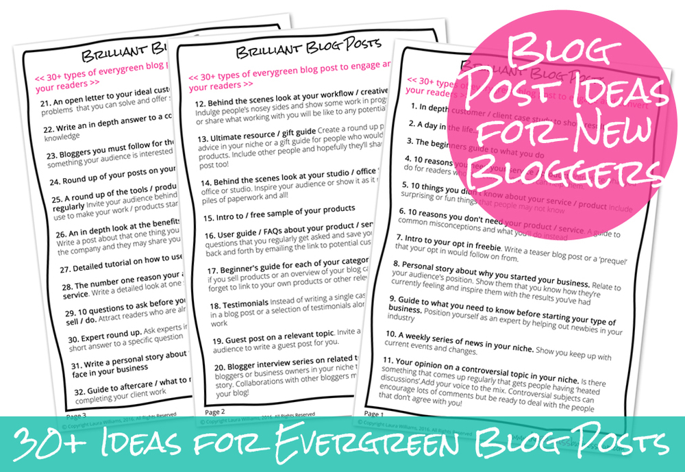 Download your list of 30+ ideas for evergreen blog posts that will engage and convert that you can share over and over again