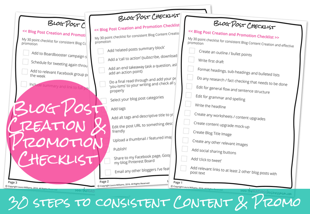 Get your hands on a Free 30-point Blog Post Content Creation and Promotion Checklist by joining us in The Badass BusinessMum's Club