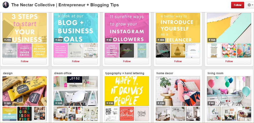 Create a cohesive, branded look to your Pinterest Profile Boards