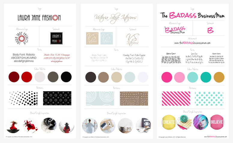 Brand Board examples from my own site plus two I designed for Blog Branding Kits