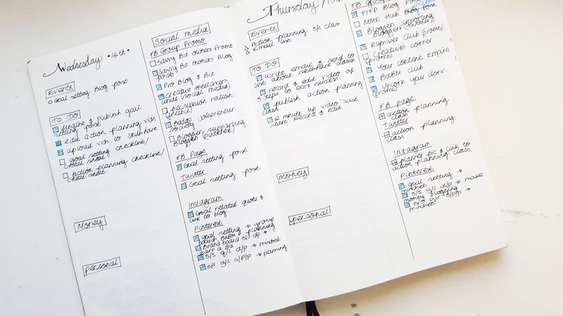Daily Blog Planning in my Bullet Journal