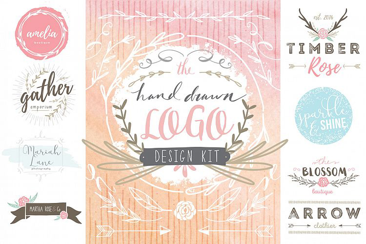 Hand Drawn Logo Designs on Design Bundles