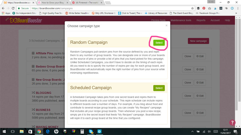 How to Create a Random Campaign in Boardbooster to Grow your Blog Traffic on Autopilot