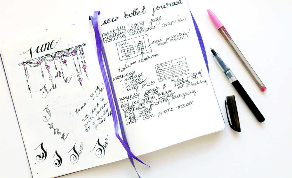 Bullet Journal Plans - I started with notes, sketches and doodles of my ideal Blog Bullet Journal