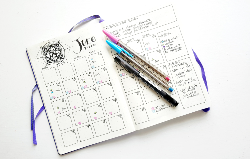 A Practice Monthly Spread - I set up a practice June Monthly to see how everything would fit in my new size notebook