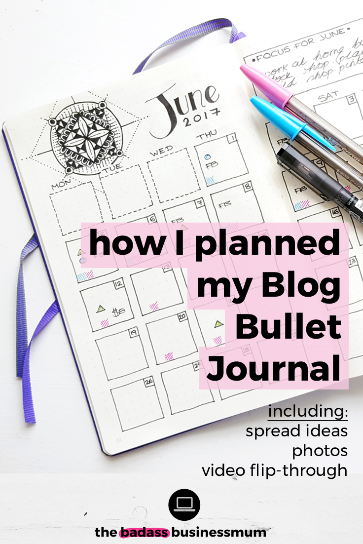 A complete guide to planning your Bullet Journal to help you run your Blog efficiently and productively, including Bullet Journal spread ideas for Bloggers and a full Blog & Business Bullet Journal planning flip-through