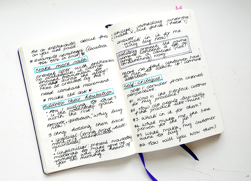Pretty Notes - I've used a coloured pen to outline the important headings so I can quickly see what's covered in each section