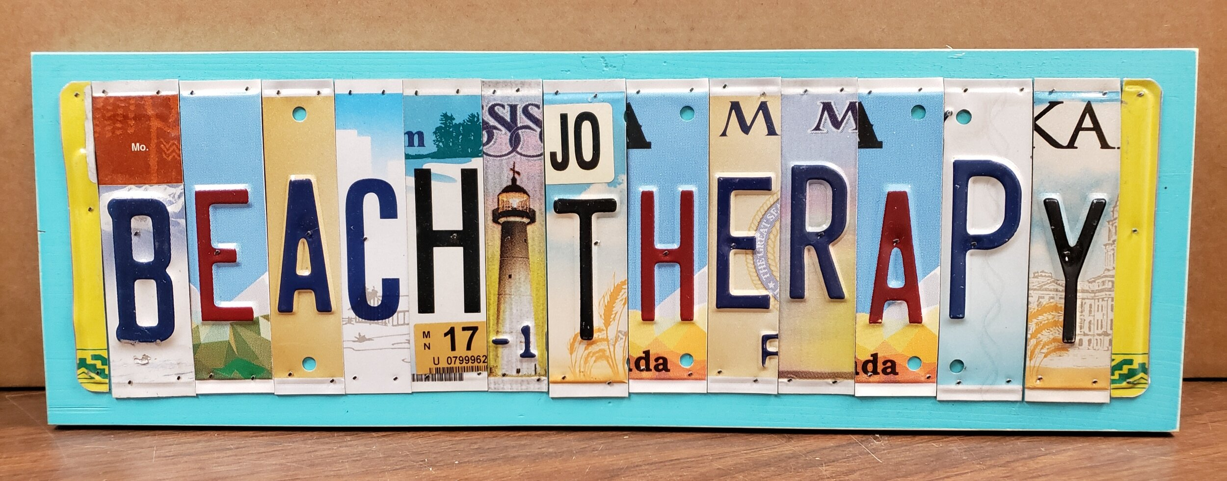 Beach Therapy Upcycled License Plate Wall Art Coastal Magpie