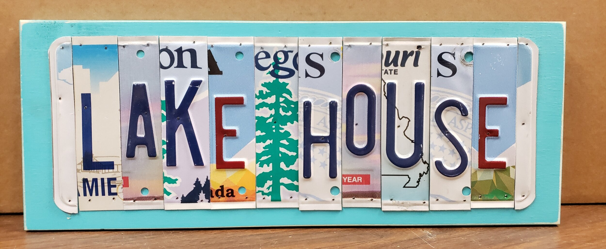 Lake House Upcycled License Plate Wall Art Coastal Magpie