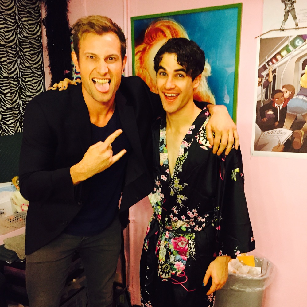 Jon Robert Hall visiting Darren in Hedwig on Broadway