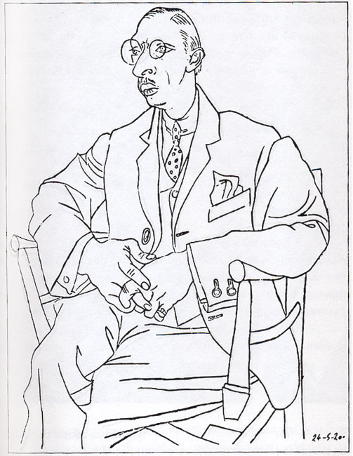 Pablo Picasso, Portrait of Igor Stravinsky, c. 1920.  Stravinsky and Pablo Picasso collaborated on Pulcinella in 1920. Picasso took the opportunity to make several sketches of the composer.  In Drawing on the Right Side of the Brain, you will learn how this wonderful drawing by one of the greatest artists of the 20th century can help YOU learn to draw.