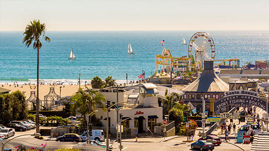 Santa Monica is known as Hollywood's playground and is home to many in the film and TV industry. It has an exquisite, wide, white sand beach, and there are many great restaurants and other attractions.