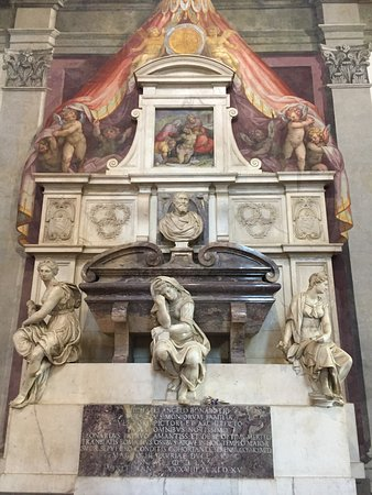 The tomb of Michelangelo in the great Basilica of Santa Croce, Florence, Italy.  A campaign is under way by Santa Croce to raise the $100,000 needed to clean and restore the tomb and the Buonarotti Family Altarpiece.  http://www.santacroceopera.it/Michelangelo/